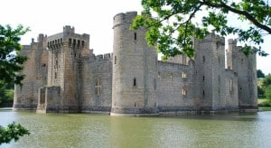 An old castle with surrounding moat