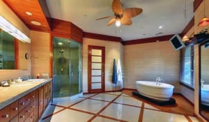 This celebrity bathroom features an East Asian design.