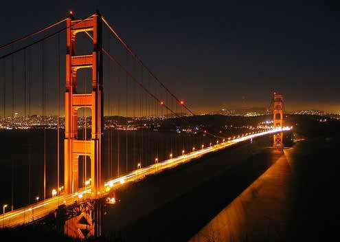 nighttime shot of the Golden Gate Bridge
