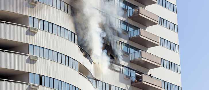 high rise bulding on fire