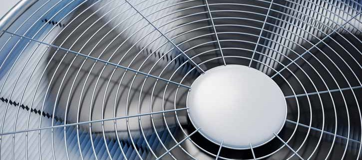 upclose view of fan blades of an air conditioning unit